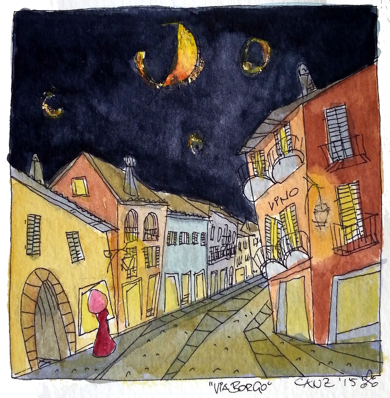 "Via Borgo ""by night"" - acquerello 9 x 9 cm"