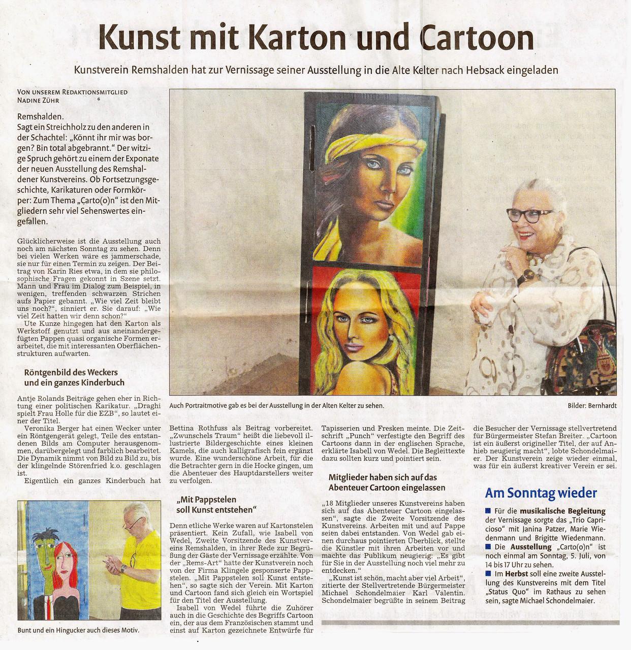 """Bericht in der Schorndorfer Zeitung über die Ausstellungseröffnung """"Cart(o)on"""" in der Alten Kelter in Remshalden-Hebsack"""