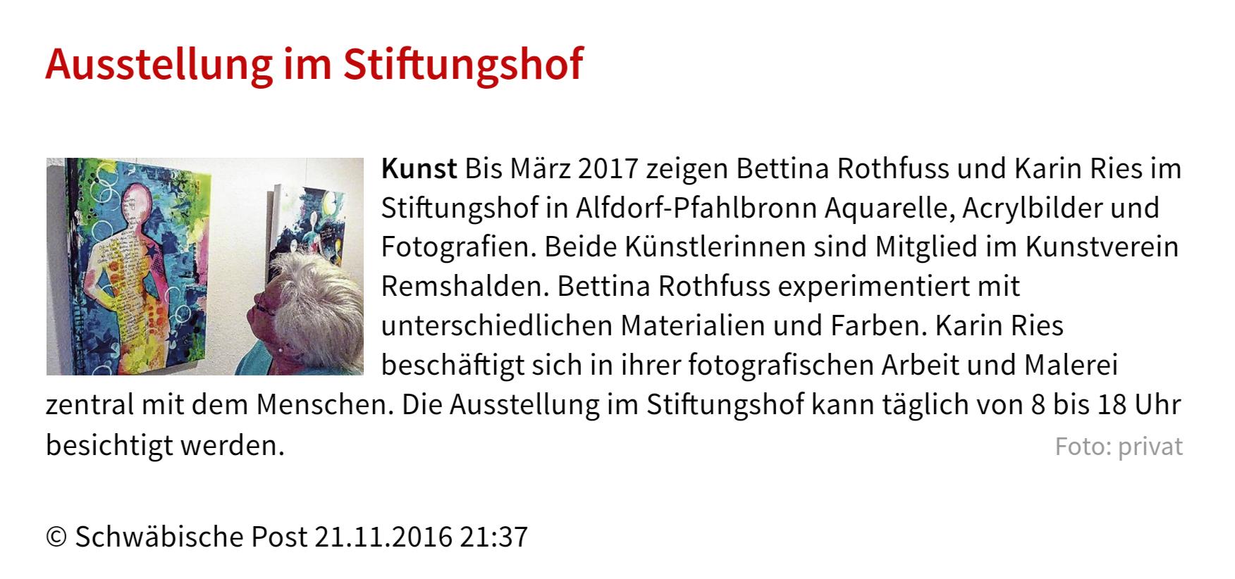 Ausstellung in der Pflegeeinrichtung Stiftungshof Haubenwasen in Alfdorf-Pfahlbronn. Artikel der Schwäbischen Post.