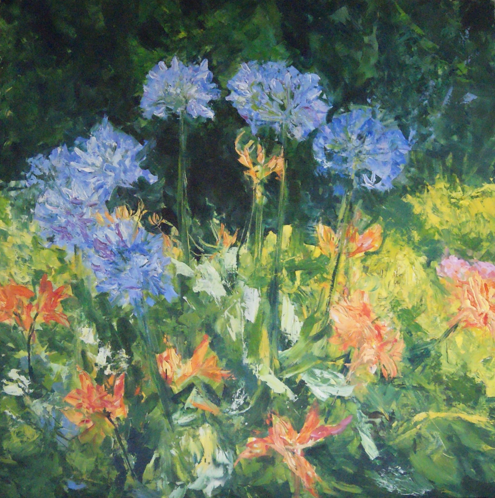 Agapanthus & day lilies 100x122cm