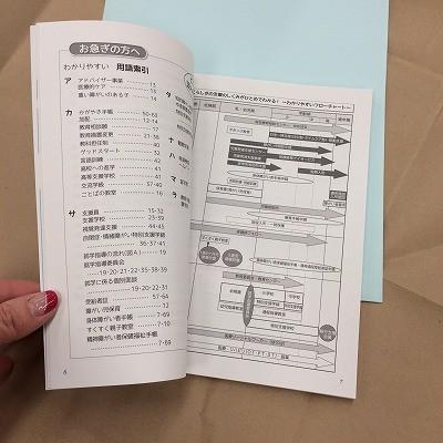 ハンドブックの中身、チラ見せ1 「用語索引」と「支援フローチャート」。