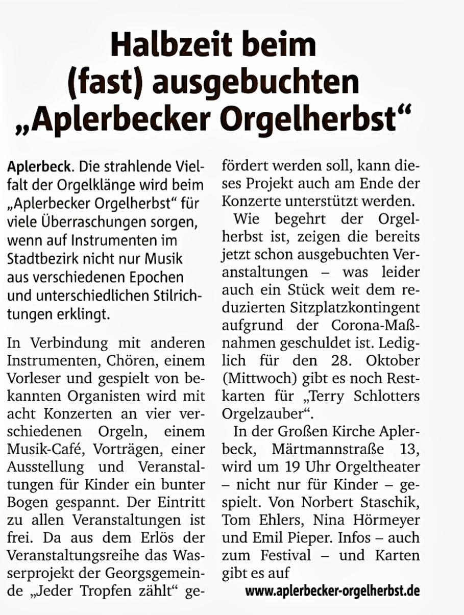 Ruhr Nachrichten, 21.10.2020