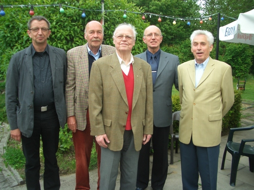 Ehemalige und heutiger Vorsitzender am 90-jährigen Vereinsjubiläum 2014. Von links: Peter Aldejohann, Fritz Prange †, Hanni Schult †, Berndt Wagner, Hans Schuy