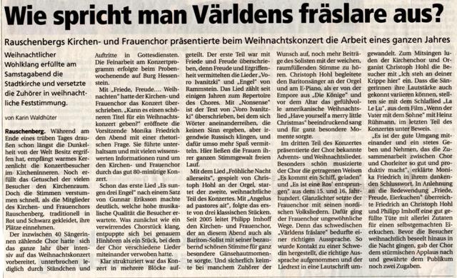 Text zum zum Weihnachtskonzert des Kirchen- und Frauenchores Rauschenberg