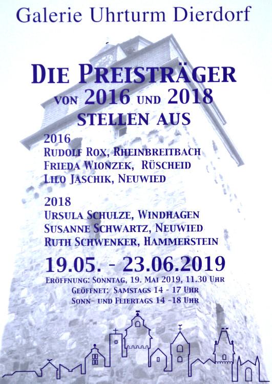 Die Preisträger der Galerie im Uhrturm - Dierdorf stellen aus. Ausstellungseröffnung am Sonntag, 19. Mai 2019, 11.30 Uhr.