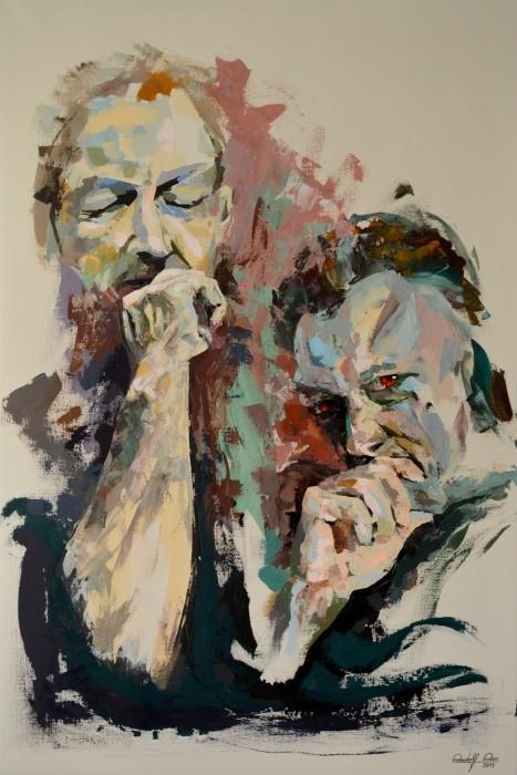 In Acryl gespachteltes Doppelporträt auf Leinwand