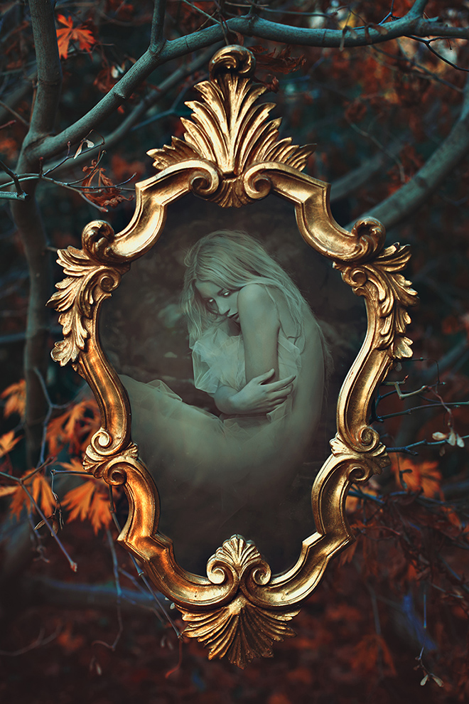 Ethereal soul inside magical mirror
