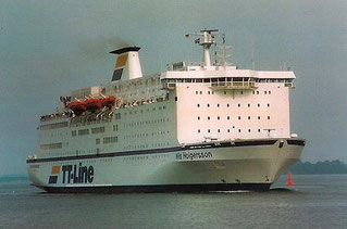 Nils Holgersson dans sa livrée TT Line, avant les transformations effectuées en 1993 par Brittany Ferries.
