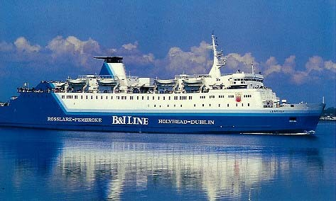 Carte postale du M/V Leinster de B&I Line qui deviendra en 1993 le M/V Isle of Inishmore d'Irish Ferries.
