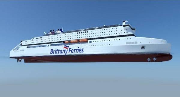 Vue d'artiste du navire Pegasis, navire qui devait être le premier navire français à être propulsé au GNL et qui aurait du être mis en service par Brittany Ferries l'an prochain.