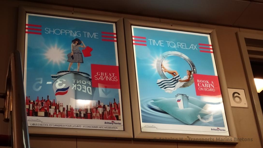 Affiches de promotion des offres des boutiques de Brittany Ferries