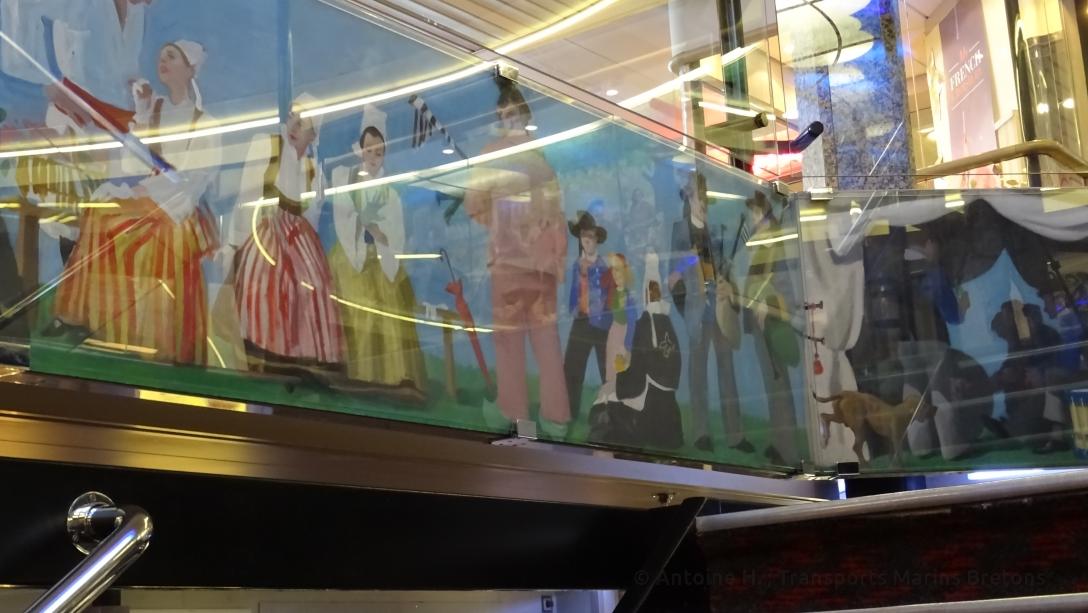 Détails de la fresque entourant les escaliers de Bretagne