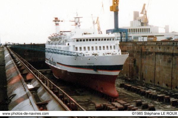 Armorique (1) en cale sèche. Photo Brittany Ferries.