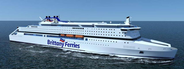 Une vue d'artiste du projet mort-né Pegasis, un navire propulsé au GNL qui aurait du être mis en service l'an prochain, remplaçant Pont-Aven.