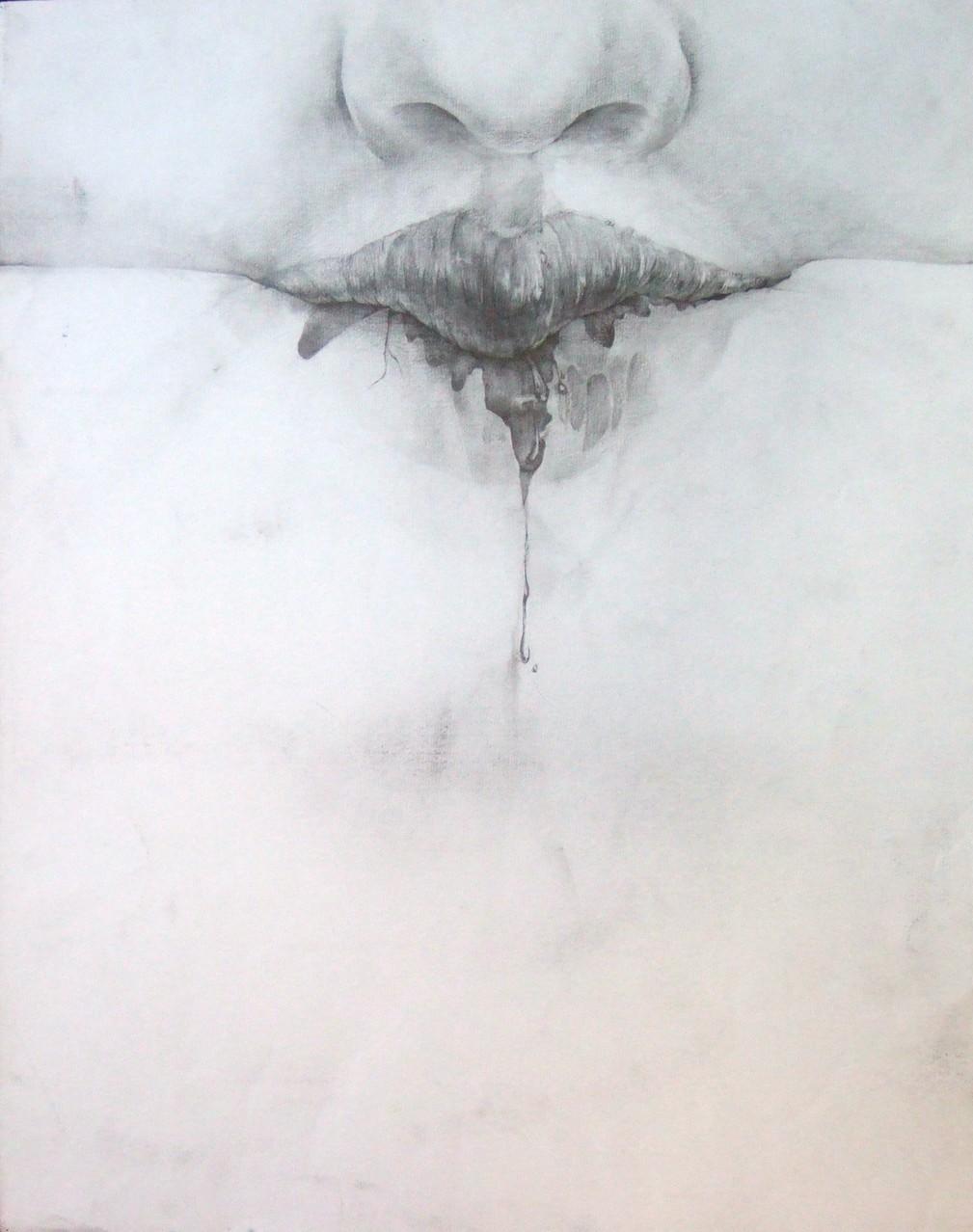 生徒作品25 鉛筆デッサン<イメージ構成:自分をテーマにして> 木炭紙大 【油画系】