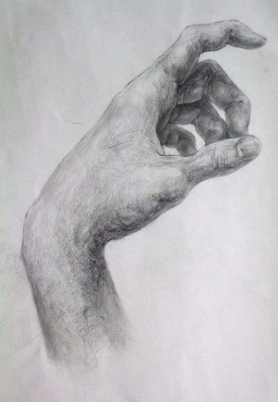 生徒作品53 鉛筆デッサン<自分の手> B4判 A画用紙 【デザイン系】