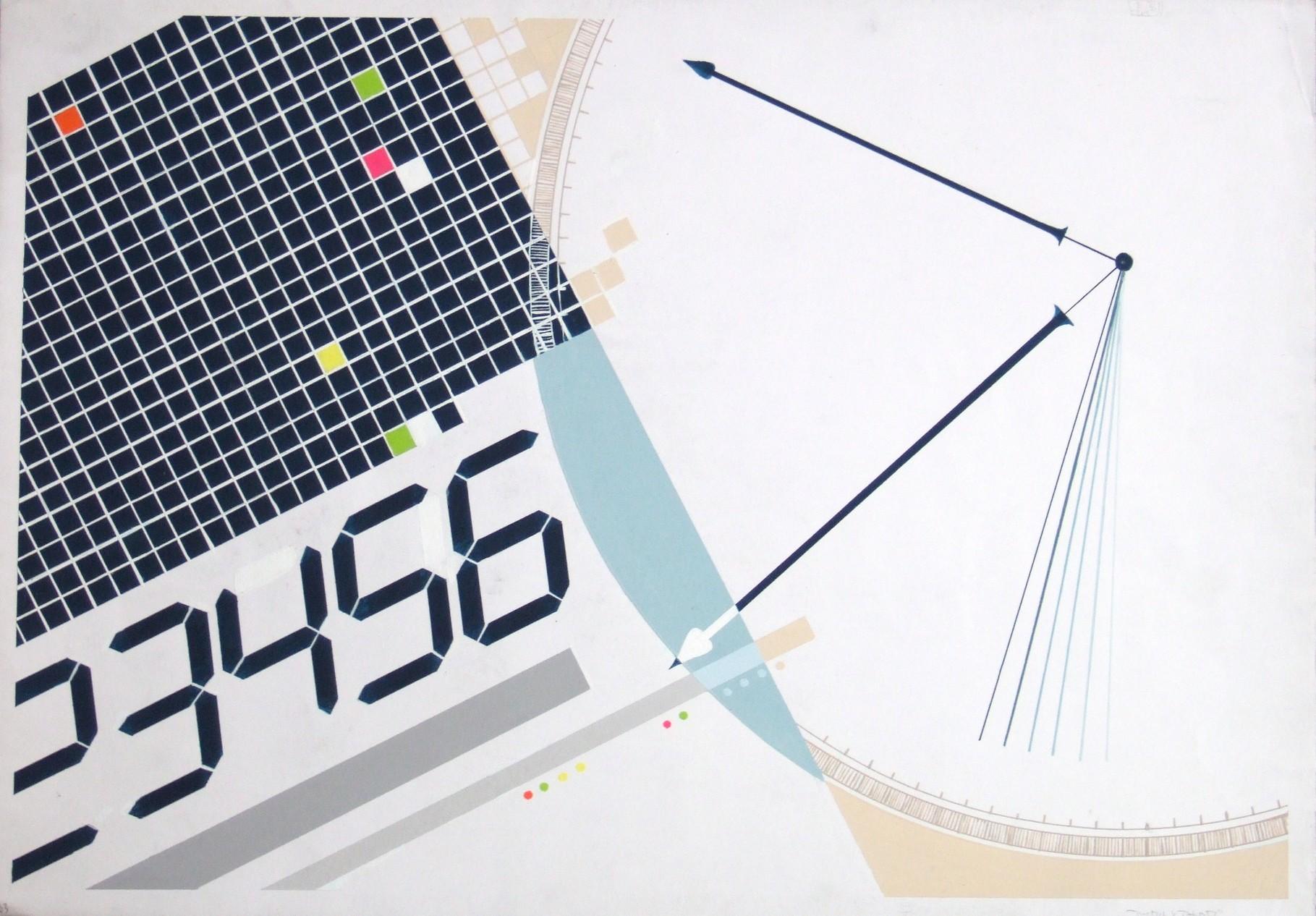 生徒作品99  アクリルガッシュ<平面構成:デジタルとアナログ> B3判 KMKケント紙 【デザイン系】