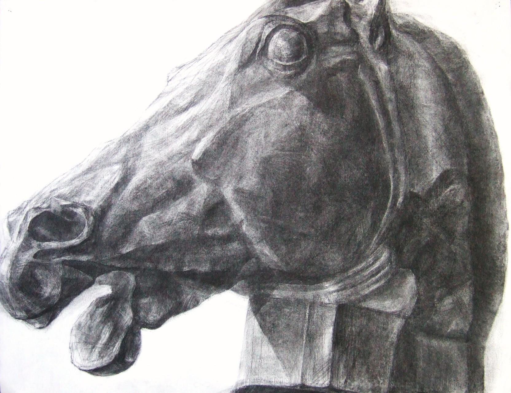 生徒作品22 木炭デッサン<セレネの馬> 木炭紙大 【彫刻系】