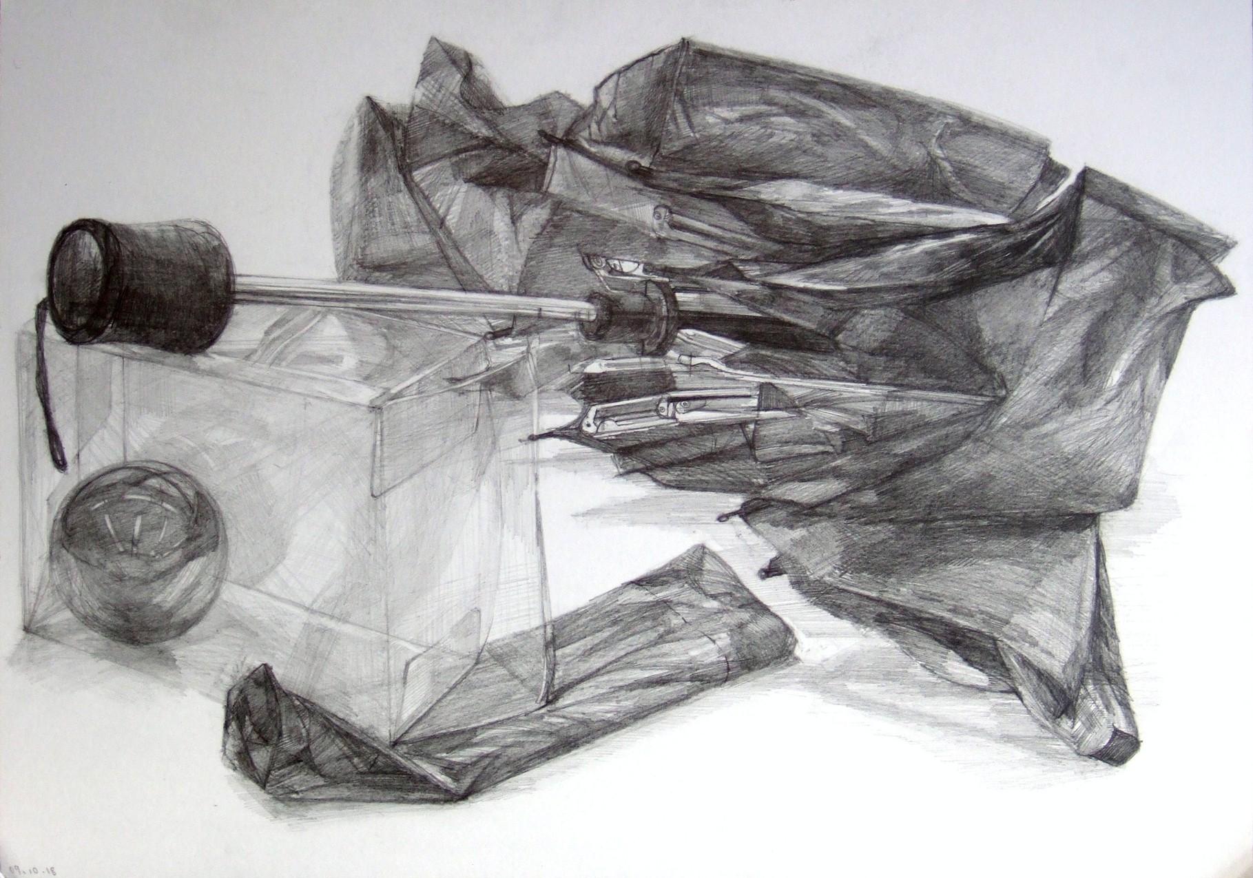 生徒作品58 鉛筆デッサン<卓上静物> 4ツ切り判 B187画用紙 【日本画系】