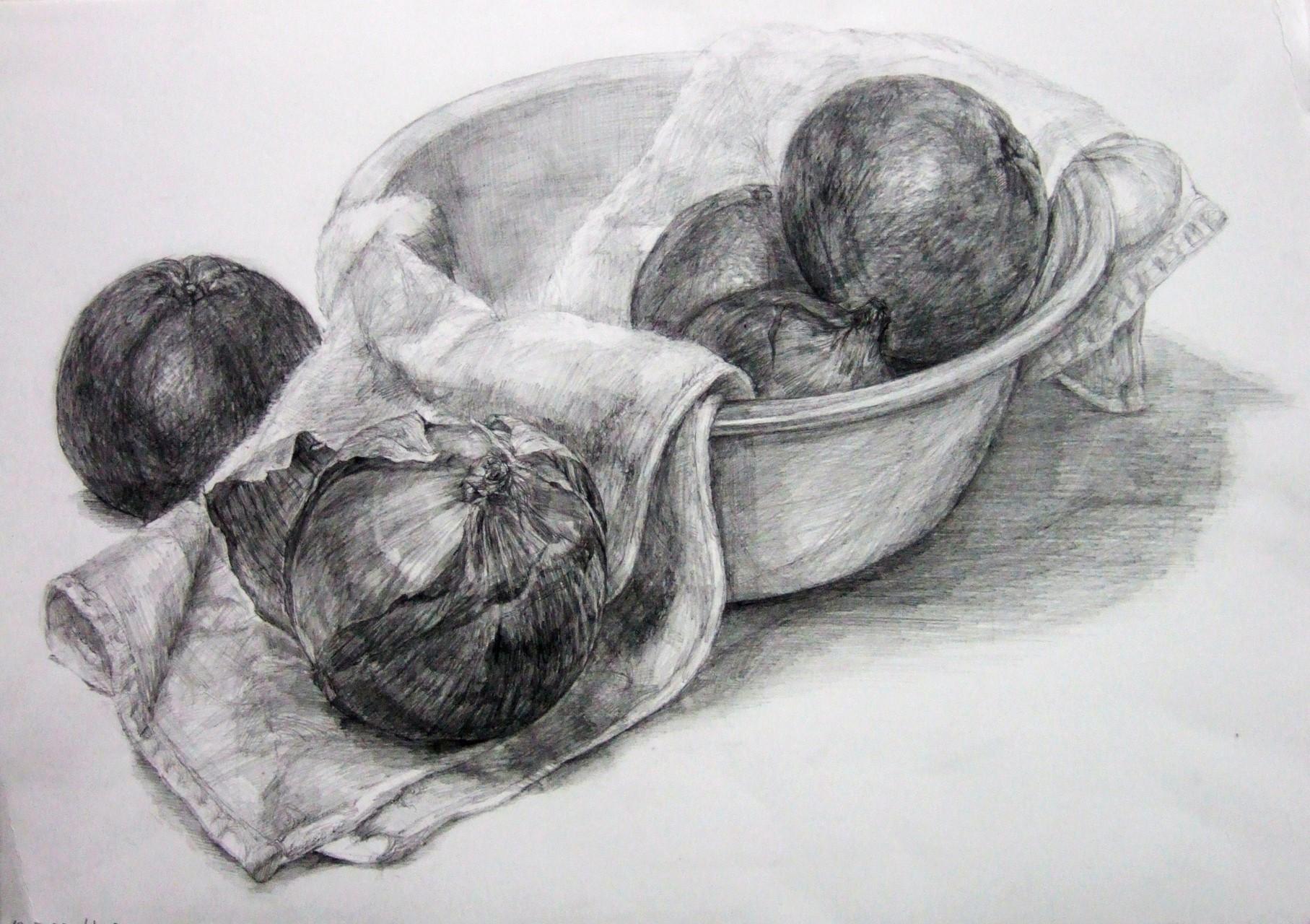 生徒作品60 鉛筆デッサン<卓上静物> 4ツ切り判 B187画用紙 【日本画系】