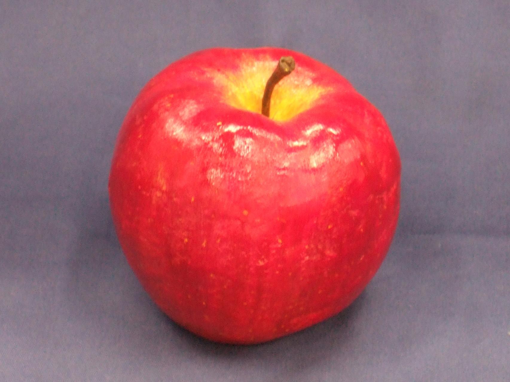 生徒作品103  「立体実習<リンゴ>」 石粉粘土に彩色 現物大 【デザイン系】