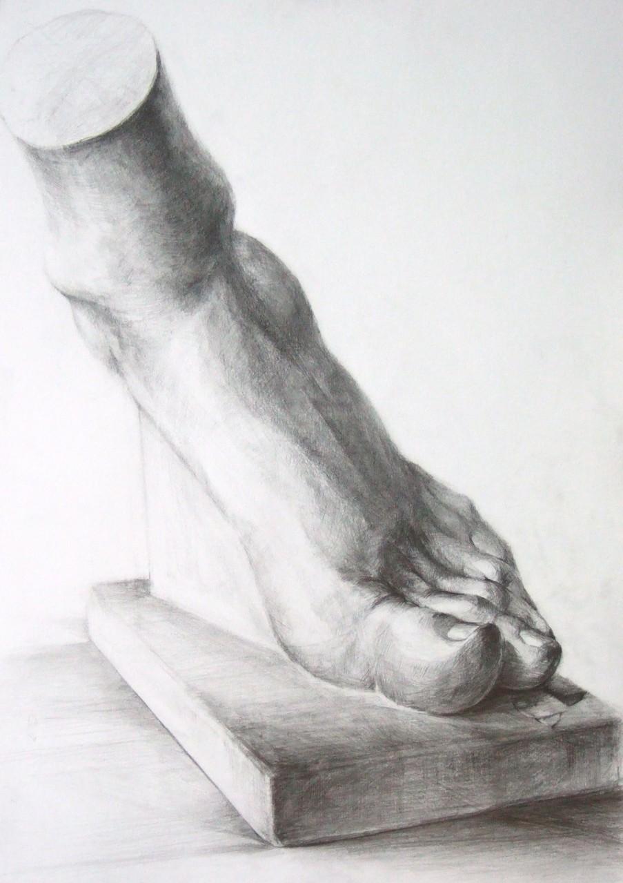 生徒作品71 鉛筆デッサン<男の足> 4ツ切り判 B187画用紙 【デザイン系】