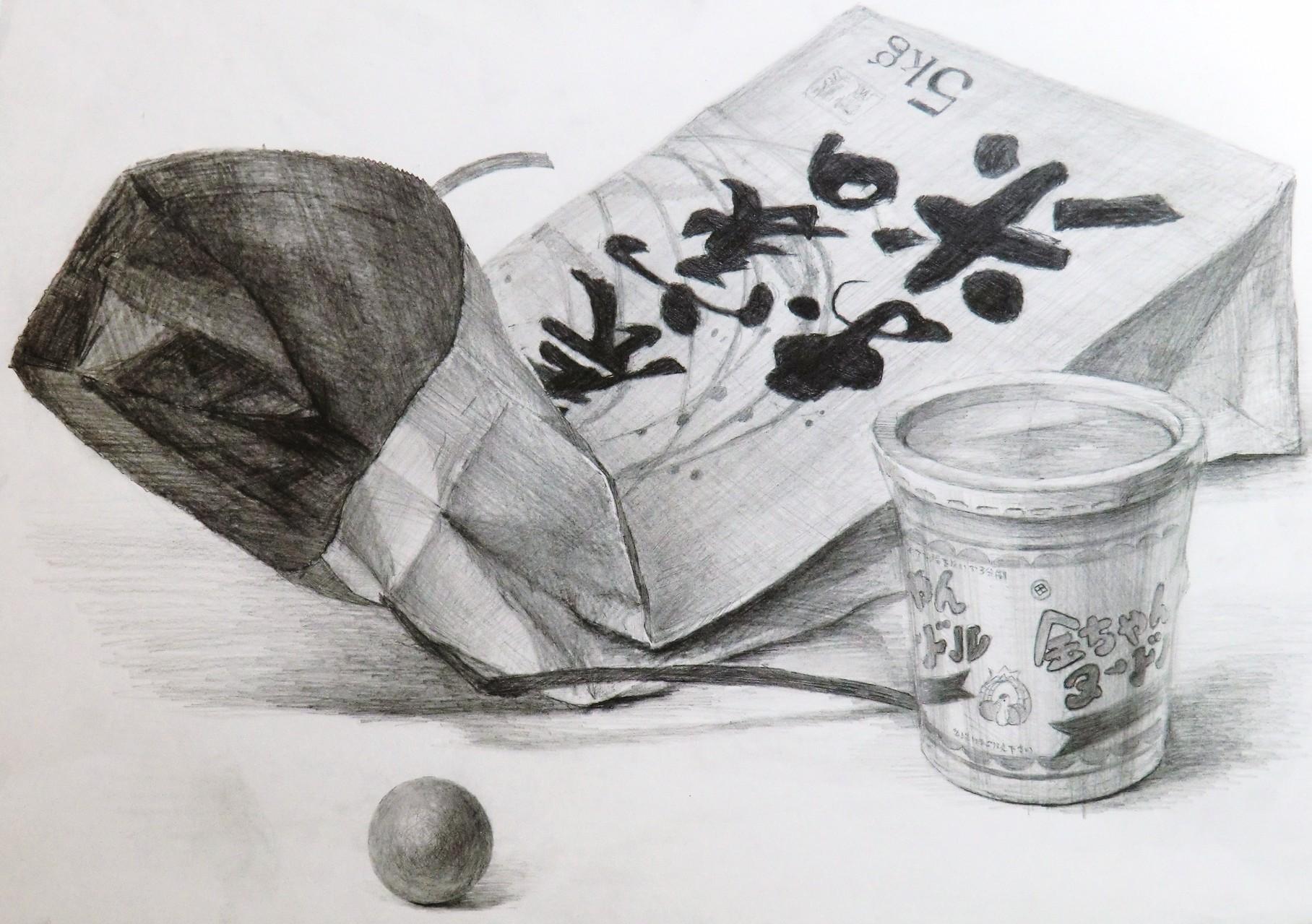 生徒作品63 鉛筆デッサン<卓上静物> 4ツ切り判 B187画用紙 【日本画系】