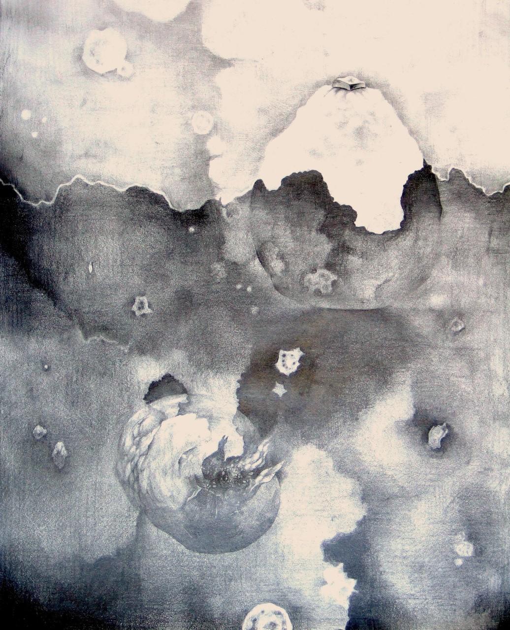 生徒作品29 鉛筆デッサン<イメージ構成> 木炭紙大 B187画用紙 【油画系】