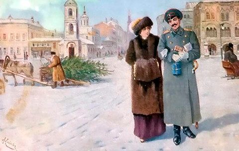 Рождественская поздравительная открытка XIX века
