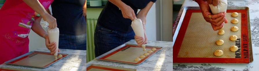Tours de mains et mise en place de l'appareil à macarons à la poche à douille