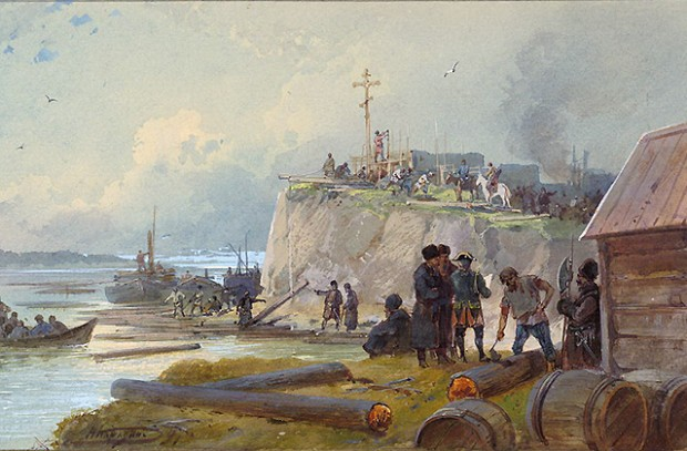 Строительство казаками крепости. Николай Каразин, 1891 год