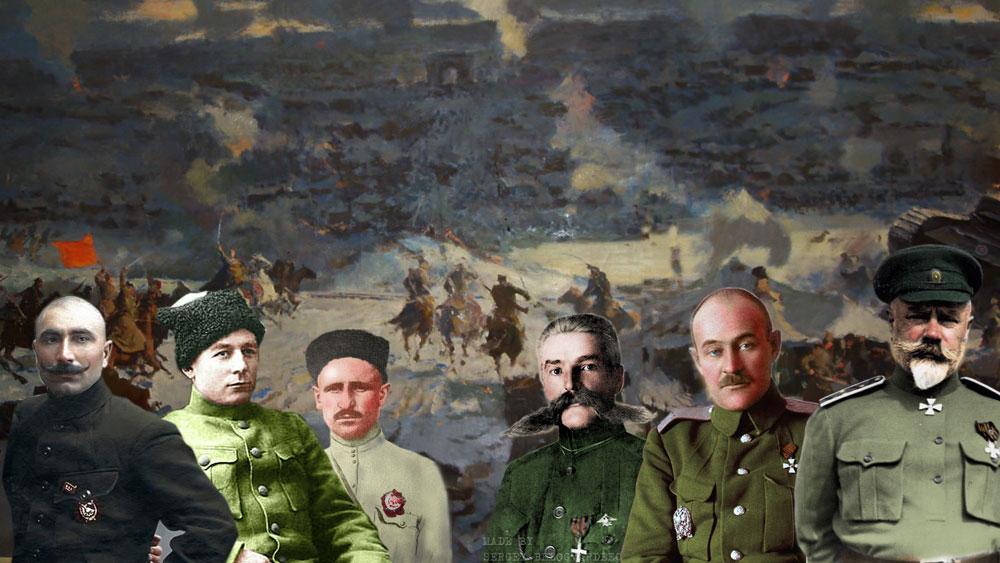 """Коллаж """"Гибель Новочеркасска"""", на заднем плане фрагмент диорамы из уничтоженного кинотеатра """"Ударник"""" в Новочеркасске."""