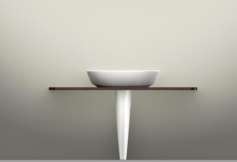 Arredobagno - Colonna con mensola in legno (pietra) per inframezzo, studio 2010 Ceramica Globo   rendering.