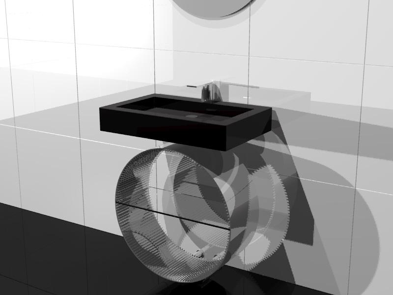 NAKED- Il profilato è  inequivocabile connotato industriale generalmente nascosto. In questa proposta si svela per suggerire nuove opportunità estetiche e funzionali. Studio radiatore arredobagno 2009 ADHOC Gruppo Ragaini   rendering.