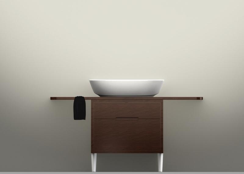 Arredobagno - Mobile e mensola in legno (ceramica/pietra) con supporti in ceramica (pietra), studio 2010 Ceramica Globo   rendering.