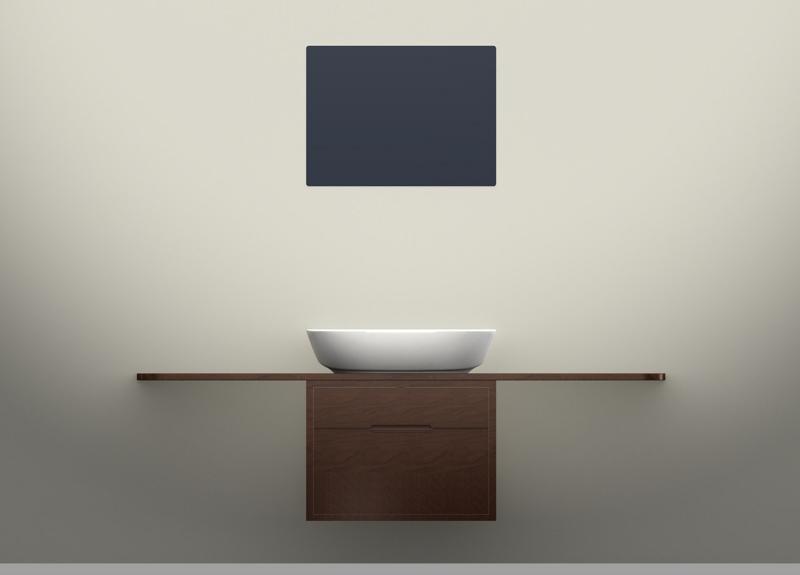 Arredobagno - Mobile sospeso in legno con mensola in legno (ceramica/pietra), studio 2010 Ceramica Globo  rendering.
