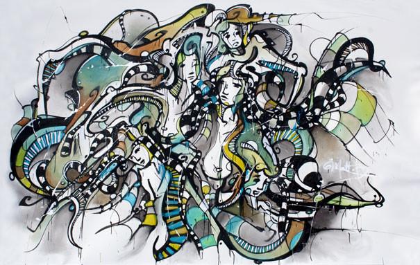 Live 33 // acrylique sur toile // 190/300 cm // 3h