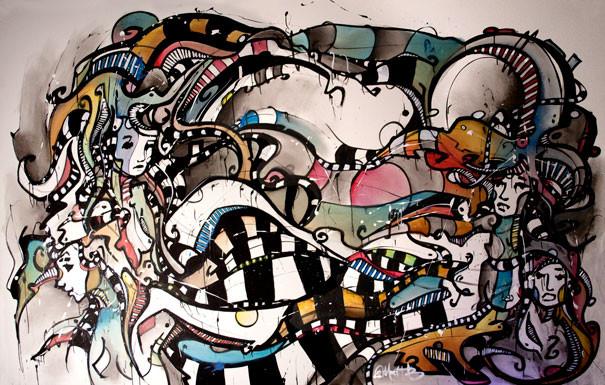 Live 32 // acrylique sur toile // 190/300 cm // 3h