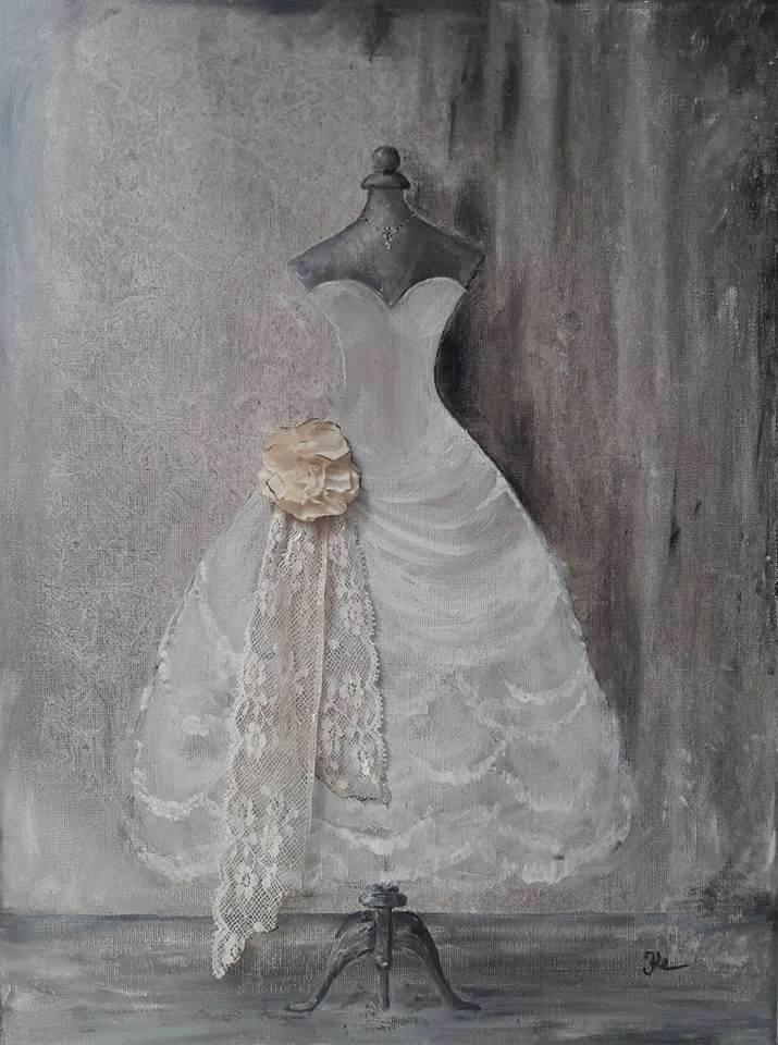 Kleid in Acryl 1 / 30 x 40 cm