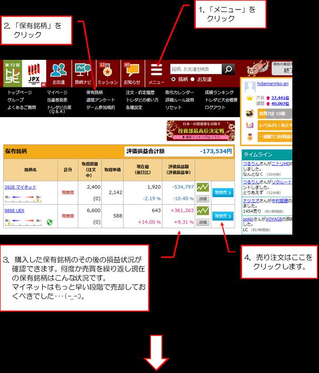 購入した株のその後の損益を確認して現物売ボタンをクリックします