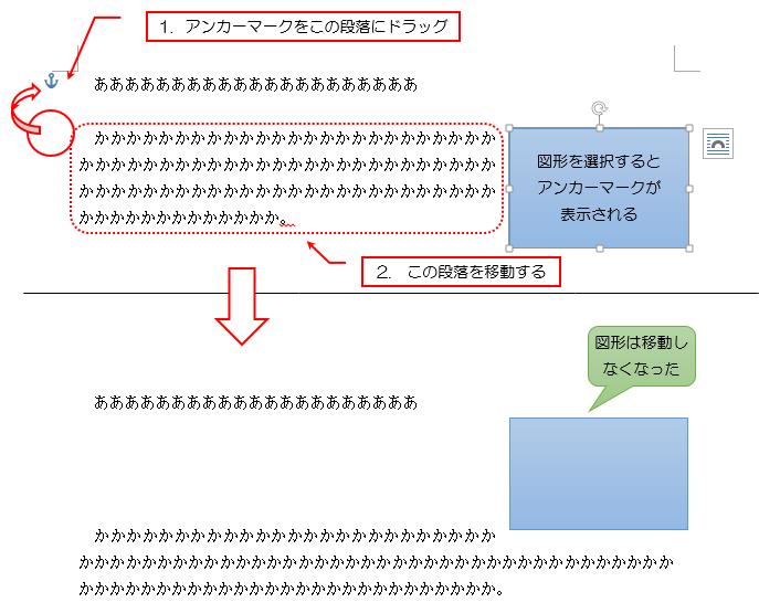 (解決方法)アンカーマークをドラッグして別の段落に移動させると解決する説明画像