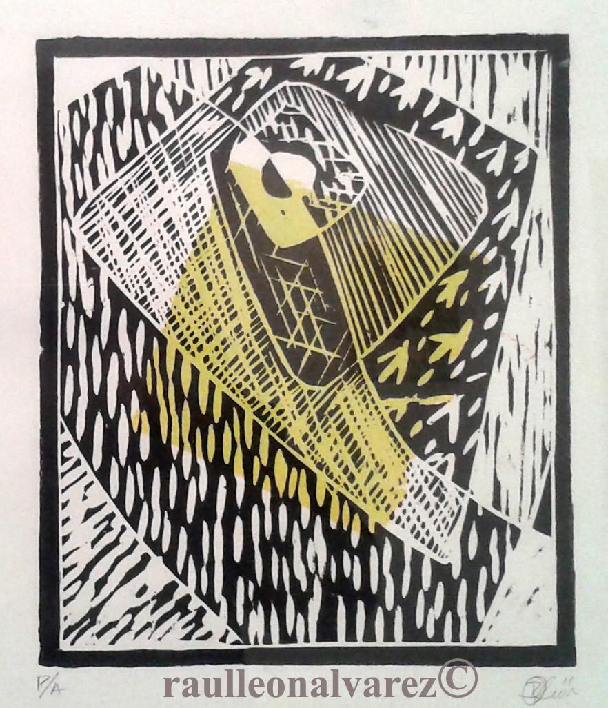 Titel: Buscando caminos/ Sökandes efter vägar. Mått: 24,5*21 cm. Teknik: Handtryckt xylografi i svart och vitt