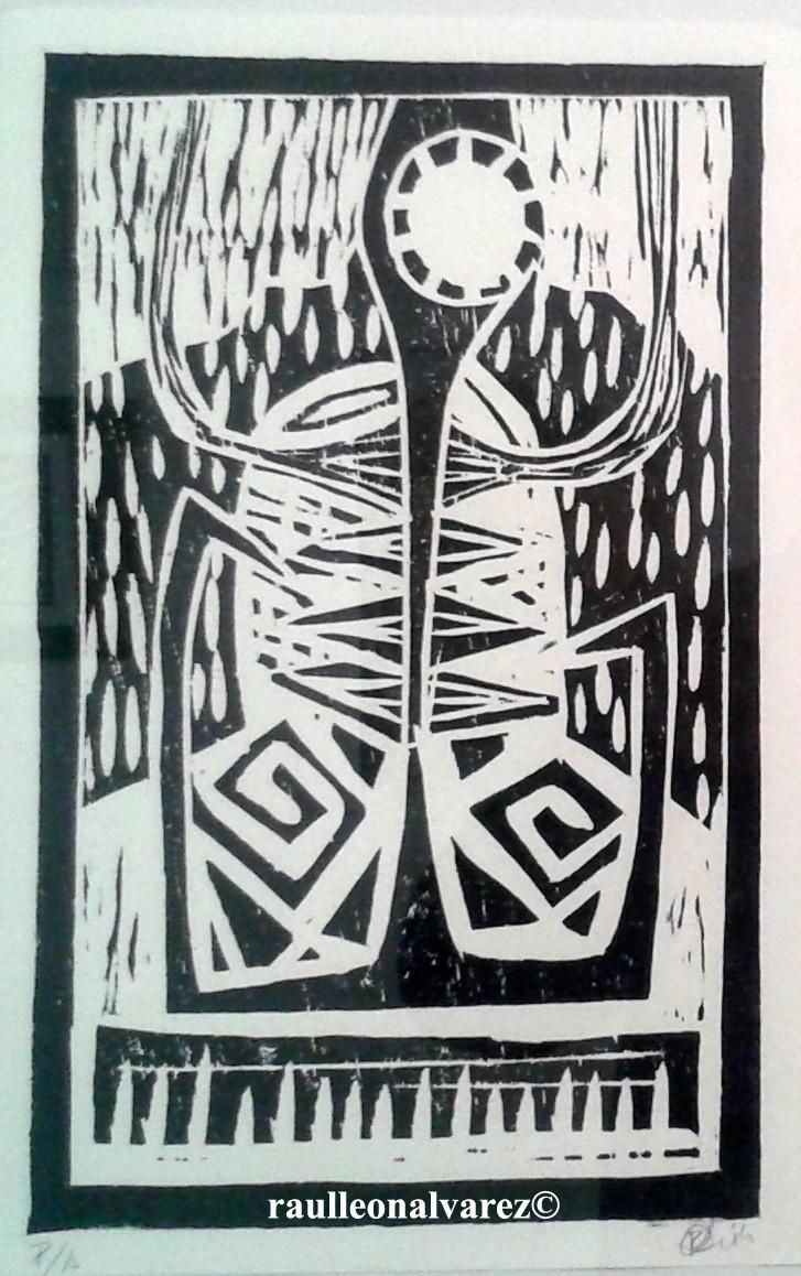 Titel: Raises/ Rötter. Mått: 28*17 cm. Teknik: Handtryckt xylografi i svart och vitt