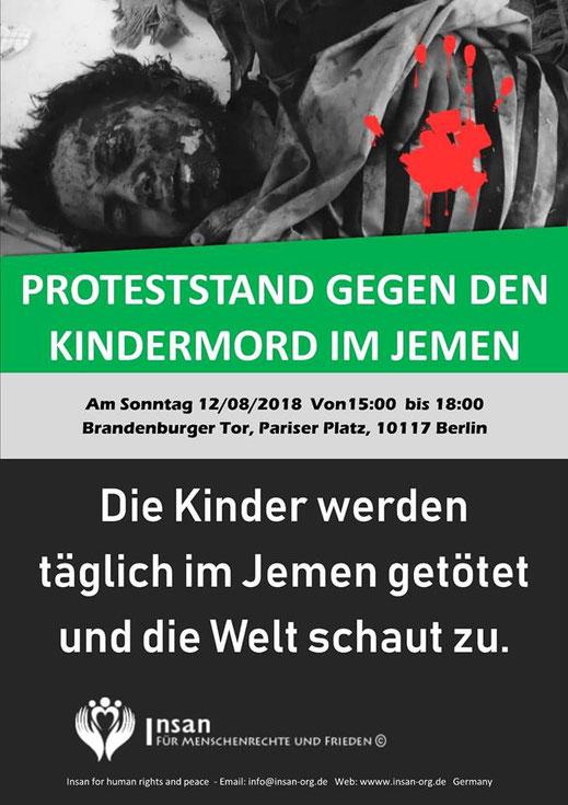 Aufruf zum Proteststand von INSAN - Für Menschenrechte und Frieden www.insan-org.de
