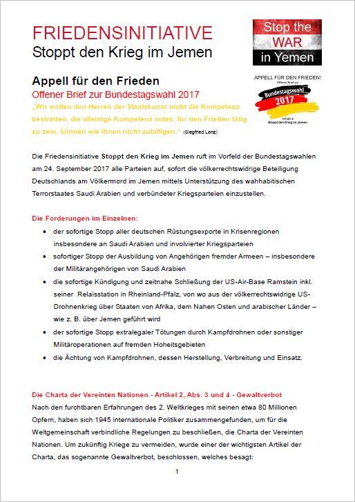 APPELL FÜR DEN FRIEDEN Offener Brief zur Bundestagswahl 2017