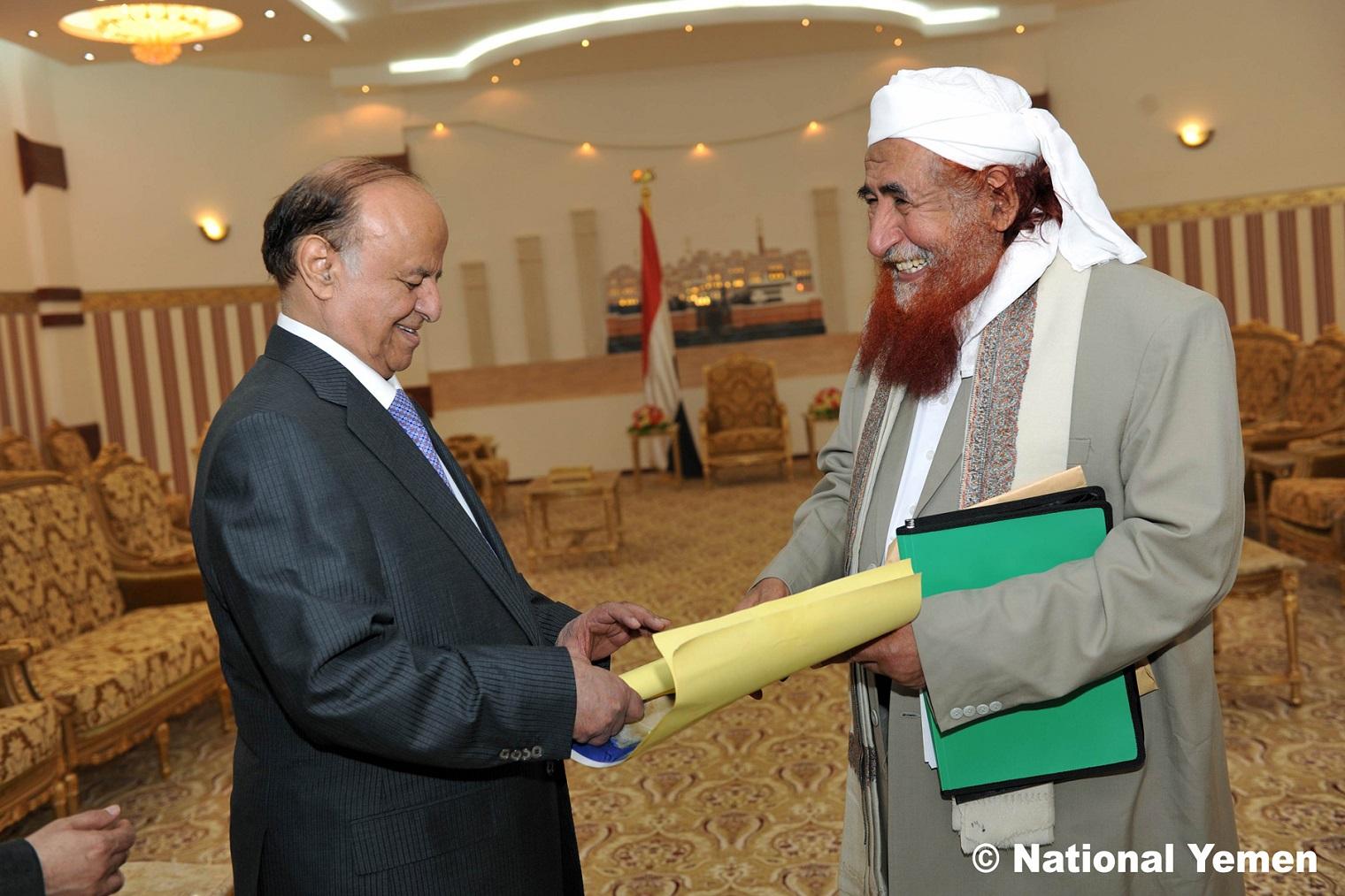 Links: Abu Mansour Hadi - Ex-Präsident der Republik Jemen / Rechts: Hadi Zindani, Gründer und Leiter der Iman-Universität im Jemen, Leiter der politischen Bewegung der jemenitischen Muslimbruderschaft