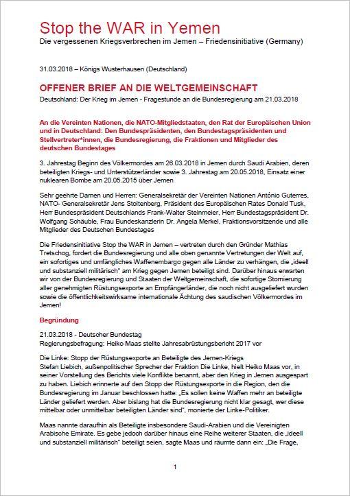 31.03.2018 - OFFENER BRIEF AN DIE WELTGEMEINSCHAFT Deutschland, Rat der Europäischen Union, NATO und Vereinte Nationen
