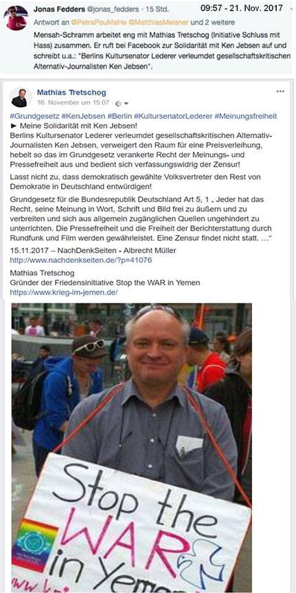 21.11.2017 - Meinungs- und Pressefreiheit - Solidaritätserklärung mit Kenn Jebsen, der im Berliner-Babylon-Kino eine Auszeichnung erhalten sollte, die Kultursenator Lederer verhindern wollte.