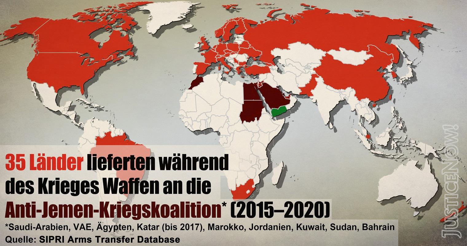 Weltweite Rüstungsexporte nach Ländern an Regierungen der saudischen Kriegskoalition gegen den Jemen