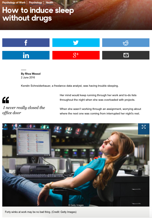 Artikel über Schlaf-Gut-Coaching in BBC Capital online vom 2. Juni 2016 (zum Artikel Bild anklicken)